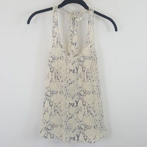 Rory Beca cream printed silk tank top size small